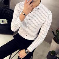 春季新品男士衬衣型男 韩版修身细条纹长袖衬衫青年单衬衫