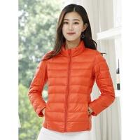 轻便轻薄羽绒服女短款韩版大码修身款立领外套