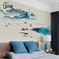 水墨画山水壁画壁纸自粘卧室墙壁装饰墙贴画