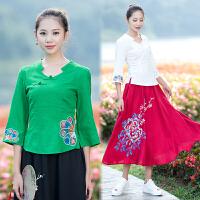 秋装新款 中国风女装棉麻上衣绣花打底衫民族风刺绣T恤女衬衫