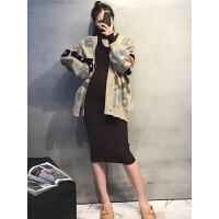 毛衣潮妈挂脖连衣裙开衫两件套孕妇秋冬装套装时尚款2018新款秋装
