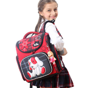 Delune新品小学生书包 定型减负护脊儿童双肩背包1-3年级女孩书包