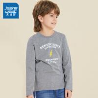 [秒杀价:29.9元,超级秒杀日仅限3.28-30]真维斯男童长袖T恤秋装儿童纯棉圆领潮长袖印花修身上衣