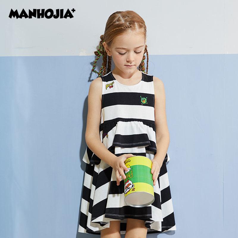 【1件秒杀:119元】马拉丁旗下潮牌MANHOJIA漫画家童装女童裙子2020夏装新款儿童条纹背心连衣裙时髦