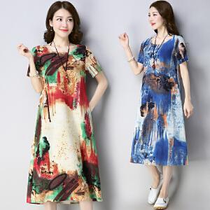 安妮纯大码宽松中长款棉麻连衣裙女2019夏季民族风亚麻短袖长裙