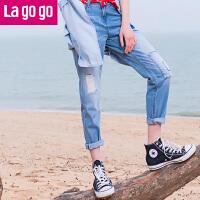 【3折价96】Lagogo拉谷谷2017夏季新款直筒裤女款高腰裤子破洞薄牛仔裤九分裤