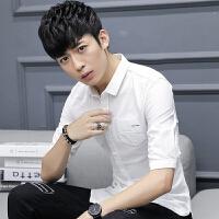 2018潮流夏季男士衬衫短袖麻棉纯色青年韩版修身休闲中袖衬衣