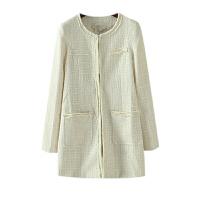 女装秋季新潮 小清新纯色大口袋百搭长袖外套女中长
