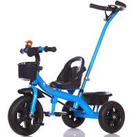 创意新款童车儿童三轮车手推车脚踏车1-6岁儿童自行车宝宝玩具童车婴幼儿推车 蓝色 手推款*包