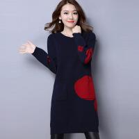 秋冬韩版宽松毛衣连衣裙女中长款加肥加大码200斤羊绒针织打底衫