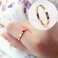 韩版玫瑰金戒指环女简约情侣对戒男食指尾戒百搭个性潮人钛钢配饰