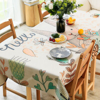 餐桌布布艺卡通可爱兔子客厅茶几桌布棉麻长方形 小清新书桌台布