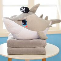 20180530044424833海盗鲨鱼抱枕公仔毛绒玩具三合一暖手插手毯子卡通午睡空调毯车载 65厘米*40厘米(毯