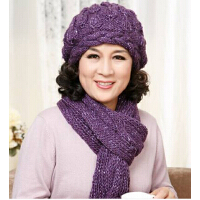 女士秋冬季中老年人冬天羊毛线帽子围巾两件套 妈妈帽 老人帽