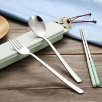 304不锈钢创意便携式餐具三件套学生可爱筷子盒长柄勺子套装儿童