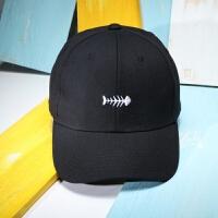 韩版文艺遮阳帽可爱纯色鱼骨头棉麻棒球帽女夏天卡通时尚鸭舌帽 可调节