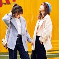 【3折到手价:183】毛呢外套女装新款韩版潮双排扣时尚短款宽松翻领大衣女