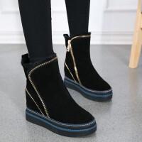 雪地靴女棉靴女马丁靴新款防滑厚底内增高短靴坡跟女靴子加绒保暖棉靴三穿法3308NX