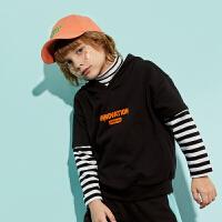 【春新品2件4折:94】巴拉巴拉旗下巴帝巴帝男童假两件卫衣儿童连帽上衣2020春装新款男韩版