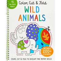 野生动物 Color, Cut, and Fold: Wild Animals 英文原版 低幼儿童启蒙认知绘本玩具书 亲