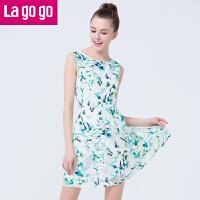 Lagogo2016秋夏季新款无袖碎花显瘦A字连衣裙女高腰短裙背心裙子