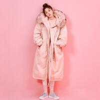粉色羽绒服女工装棉衣女装长款收腰韩版棉袄大毛领冬季潮