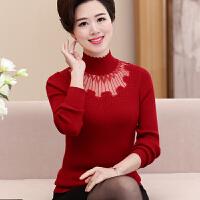 中年妈妈秋冬短款半高领镂空针织衫长袖上衣30-40岁女士打底毛衣