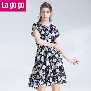 Lagogo2017年夏季新款短袖大碎花雪纺连衣裙女中长款收腰显瘦裙子