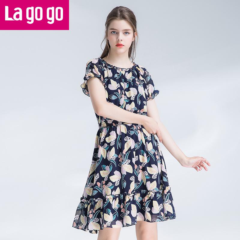 【两件5折后价134.5】Lagogo2017年夏季新款短袖大碎花雪纺连衣裙女中长款收腰显瘦裙子