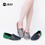 jm快乐玛丽2019春季新款潮时尚拼色休闲鞋一脚蹬帆布鞋女鞋