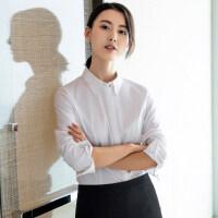 白色衬衫女长袖2018秋季新款衬衣韩版修身上衣职业正装工作服工装