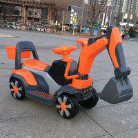 儿童电动挖掘机男孩玩具车挖土机可坐可骑大号钩机不带遥控工程车 橘色滑行款+音乐彩灯 官方标配