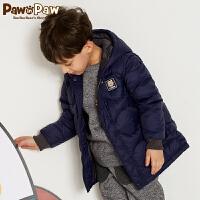 【3件3折 到手价:269】Pawinpaw卡通小熊童装冬男童连帽白鸭绒羽绒服中小童外套