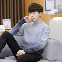 秋冬季半高领毛衣男士韩版中领宽松针织衫潮流线衣加厚保暖打底衫