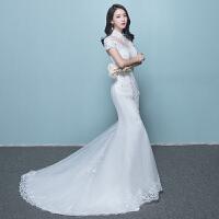 鱼尾婚纱礼服2018新款新娘结婚韩版修身显瘦拖尾一字肩立领2018 鱼尾婚纱
