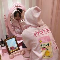 秋冬女装2018新款韩版可爱卡通印花宽松长袖连帽加绒加厚卫衣外套