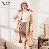 轻薄羽绒服女拉夏贝尔2018冬季新款粉色系带中长款白鸭绒过膝外套