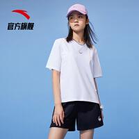 【到手价100】安踏短袖t恤女夏季2021新款官网针织圆领运动上衣半袖衫162128129