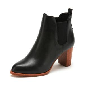 星期六(ST&SAT)冬季专柜同款牛皮革尖头粗高跟切尔西短靴SS74116978