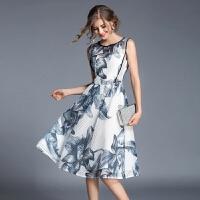 夏装新款无袖连衣裙复古印花高腰显瘦镂空A字连衣裙中长款背心裙