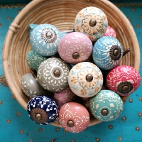 美式乡村地中海抽屉橱柜门复古手绘陶瓷小拉手五金单孔把手