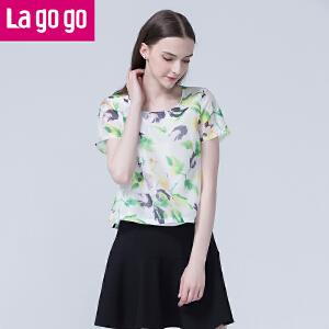 Lagogo/拉谷谷2016年夏季圆领印花休闲短袖上衣