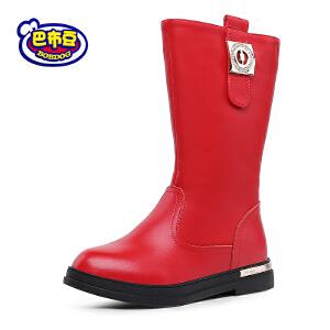 巴布豆童鞋 女童靴子2016冬季新款女童短靴皮靴公主鞋真皮靴子