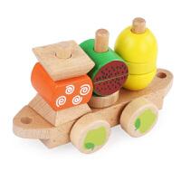 木质儿童拖拉火车积木0-1-2-3周岁宝宝形状配对早教智力玩具 ohye-水果火车套柱