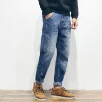 冬季潮流复古休闲抓痕刺绣牛仔裤男青年棉长裤水洗修身小脚裤