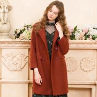 冬装新品 大翻领双排扣长款呢大衣毛呢外套女D741035D00