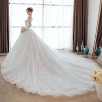 婚纱礼服2018新款欧美新娘结婚韩版一字肩长袖拖尾性感春季