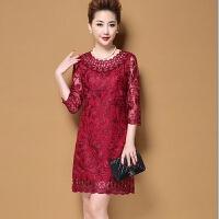 春季旗袍连衣裙中年妈妈女装结婚婚宴礼服欧根纱显瘦中长款加大码 款3 红色七分袖