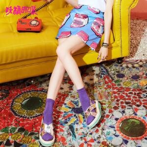 【2件3折到手价:85】妖精的口袋雪纺半身裙子新款a字裙原宿chic卡通短裙女