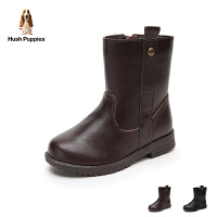 暇步士Hush Puppies童鞋18冬季新款儿童质感牛皮靴子女童简约时尚加绒保暖中筒靴 (5-10岁可选) DP93